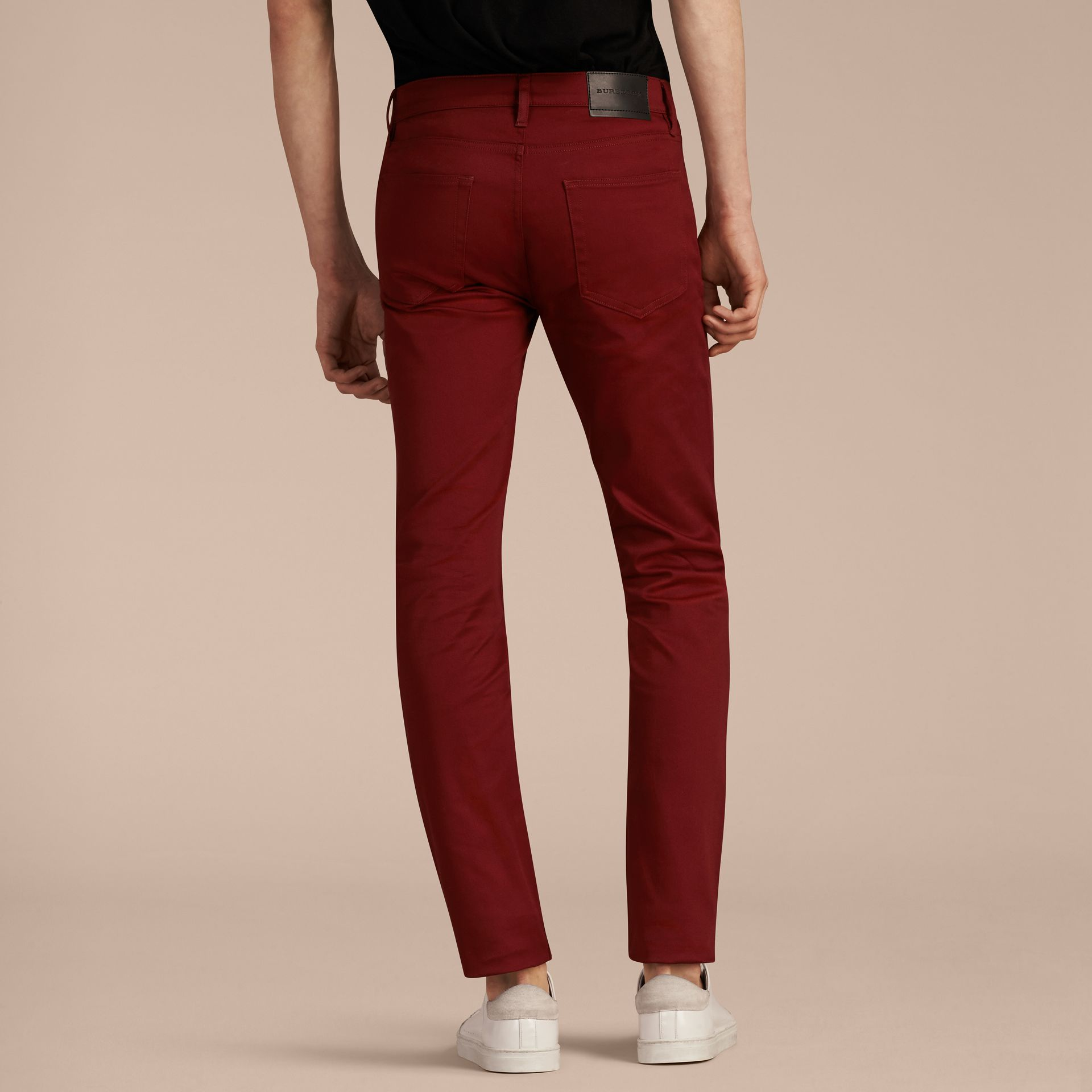 Dark red Slim Fit Japanese Stretch Denim Jeans Dark Red - gallery image 3