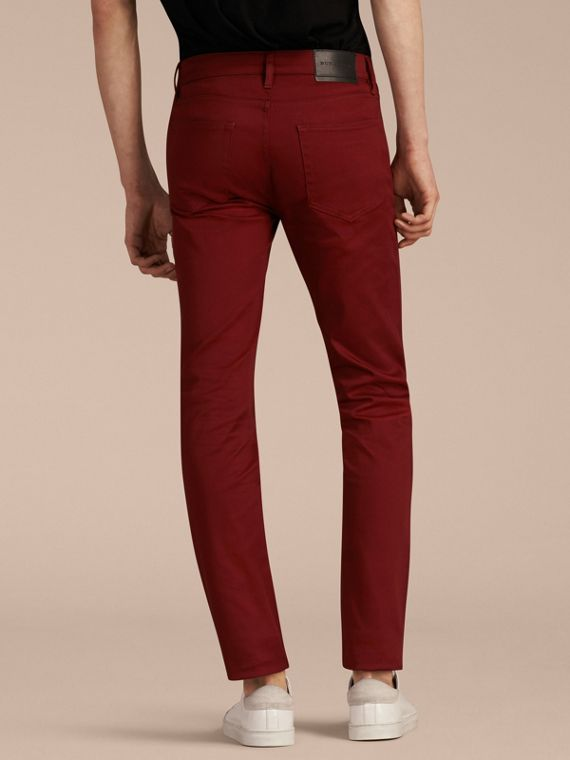 Dark red Slim Fit Japanese Stretch Denim Jeans Dark Red - cell image 2
