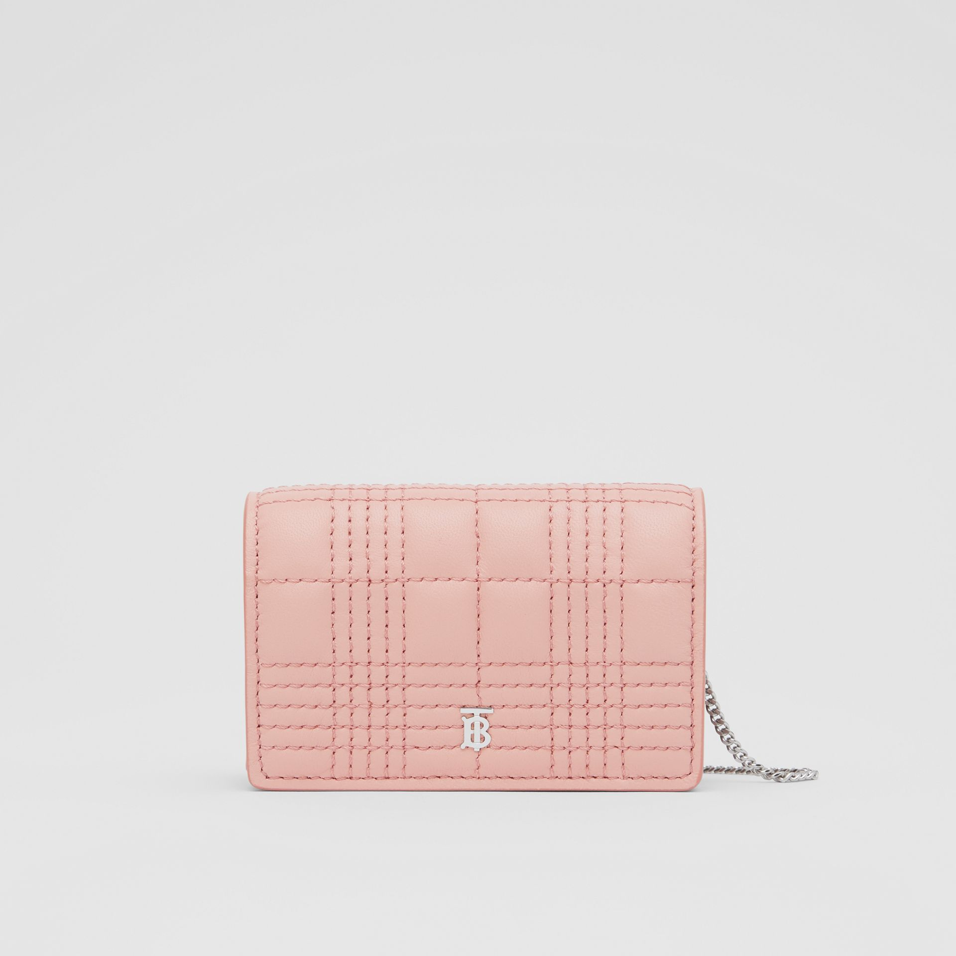 Quilted Lambskin Card Case with Detachable Strap in Blush Pink | Burberry - gallery image 0