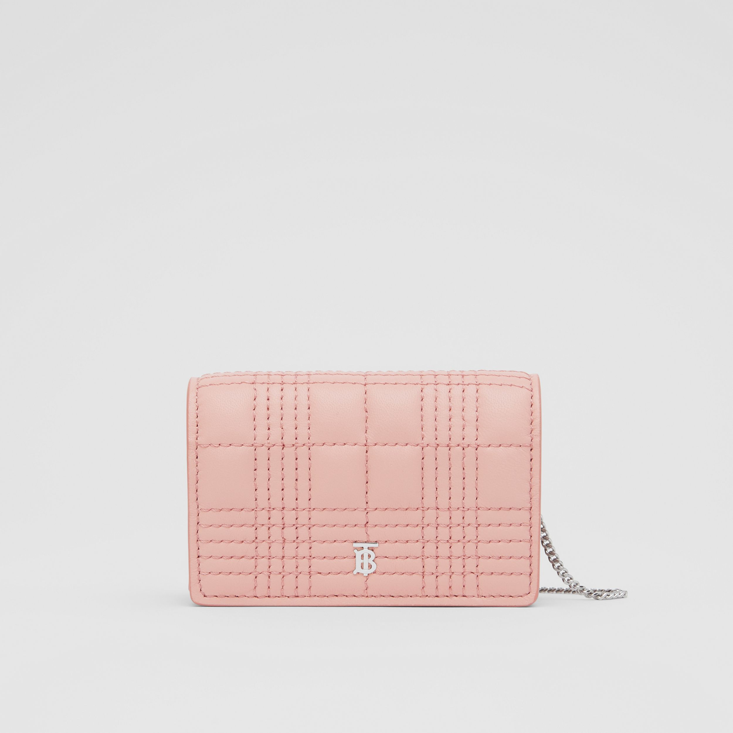 Quilted Lambskin Card Case with Detachable Strap in Blush Pink | Burberry - 1