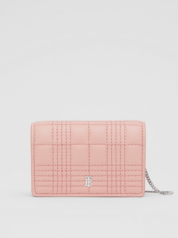 Quilted Lambskin Card Case with Detachable Strap in Blush Pink