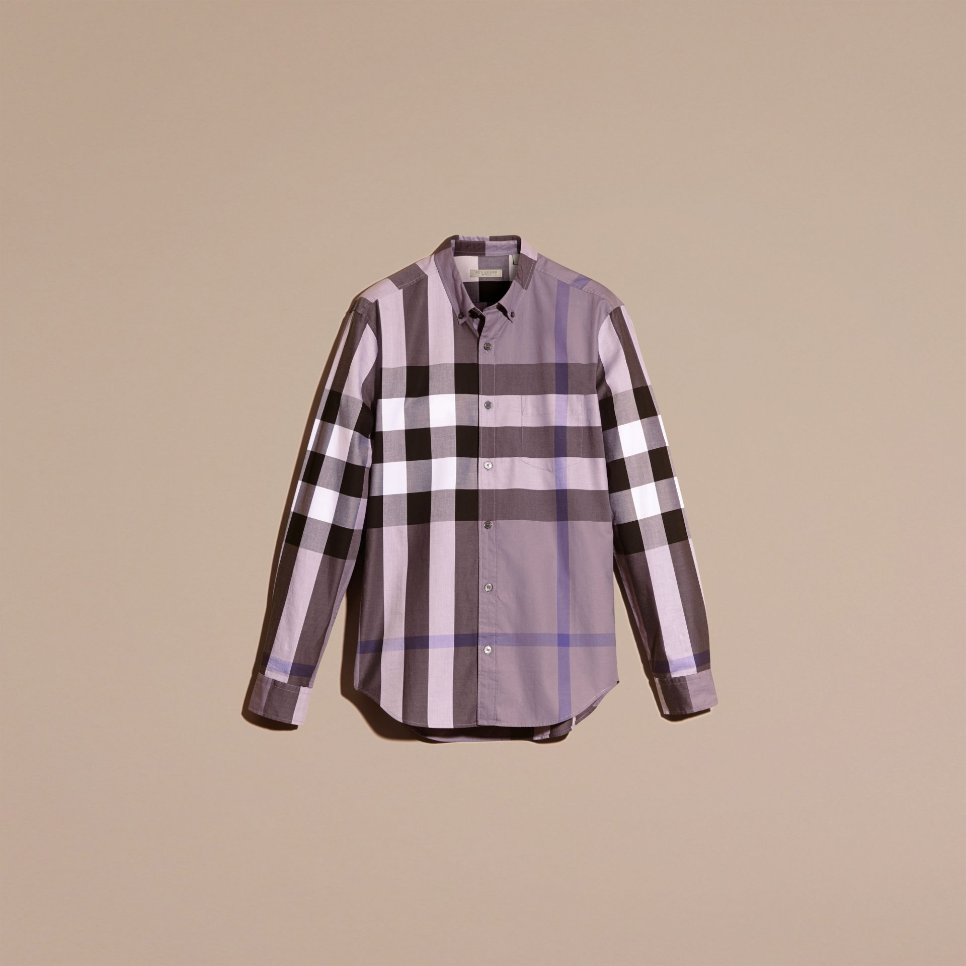 Lilac Check Cotton Shirt Lilac - gallery image 3