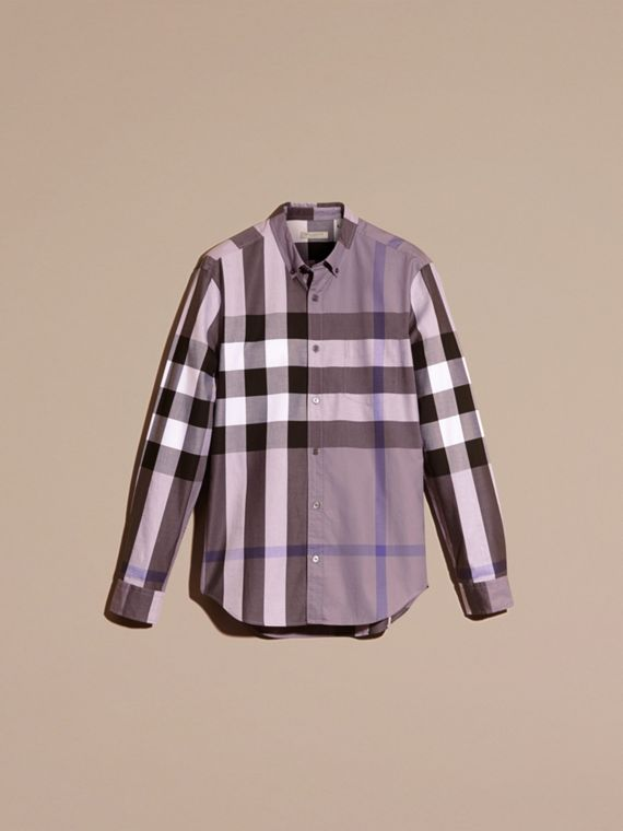 Lilac Check Cotton Shirt Lilac - cell image 2