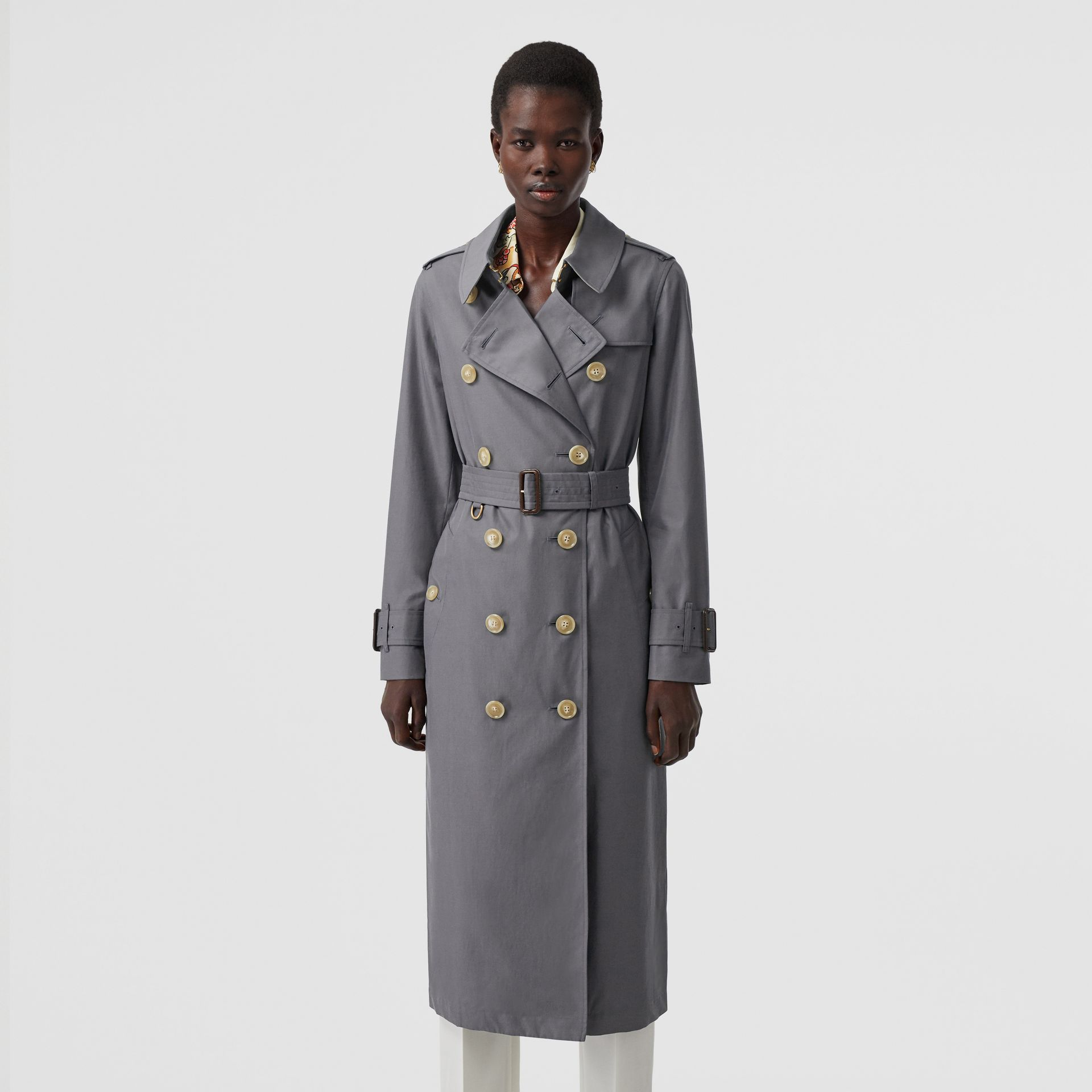 Tropical Gabardine Trench Coat in Mid Grey - Women | Burberry Singapore - gallery image 7