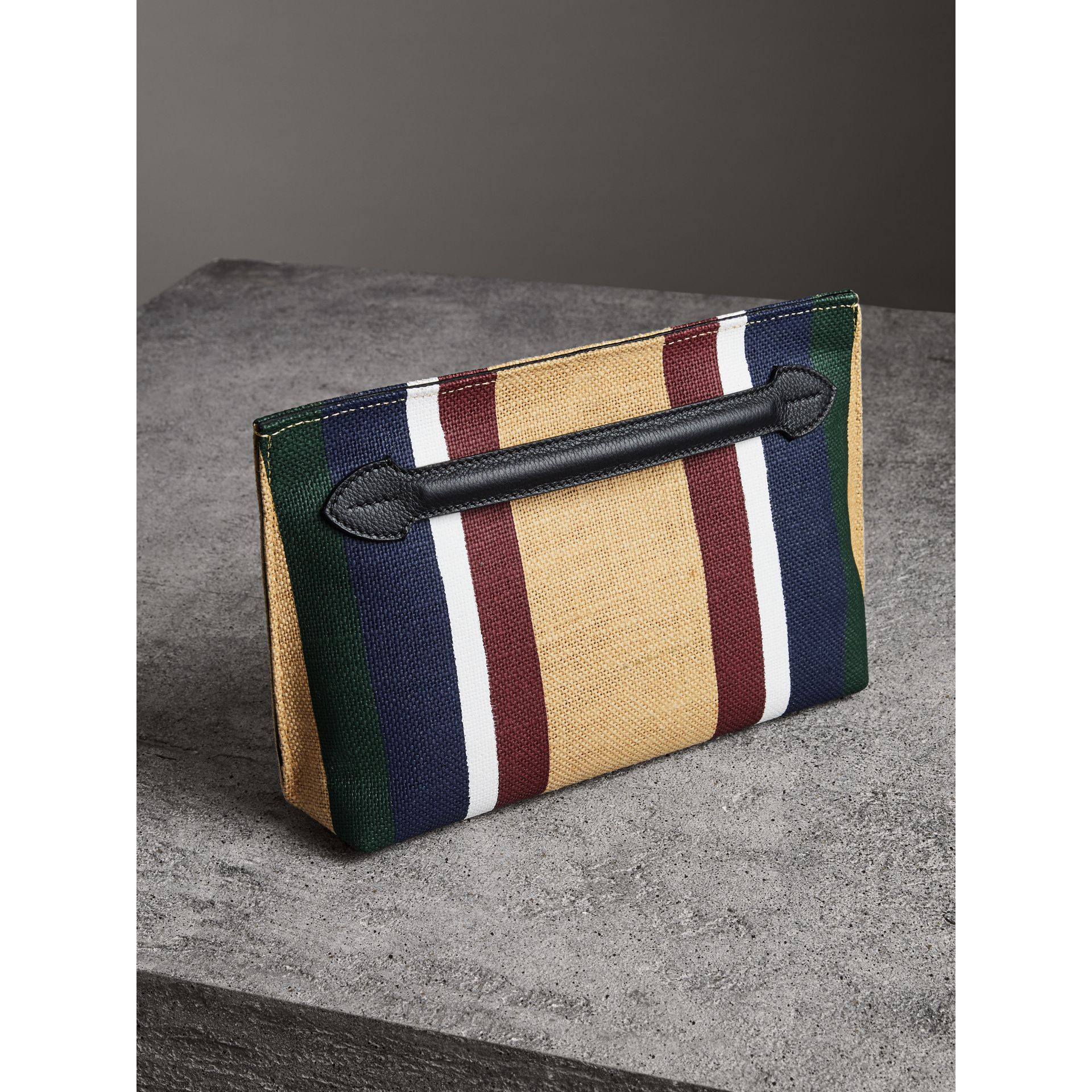 Striped Jute Wristlet Clutch in Black - Women | Burberry - gallery image 4