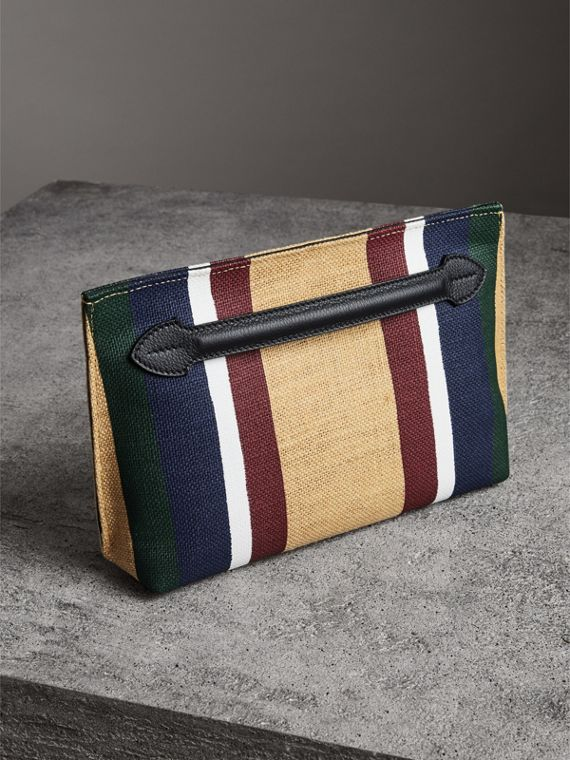 Striped Jute Wristlet Clutch in Black - Women | Burberry - cell image 2