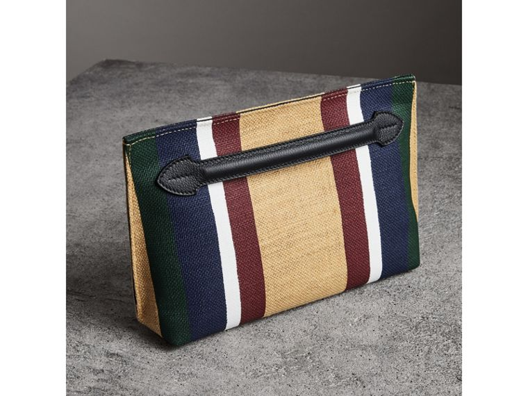 Striped Jute Wristlet Clutch in Black - Women | Burberry - cell image 4