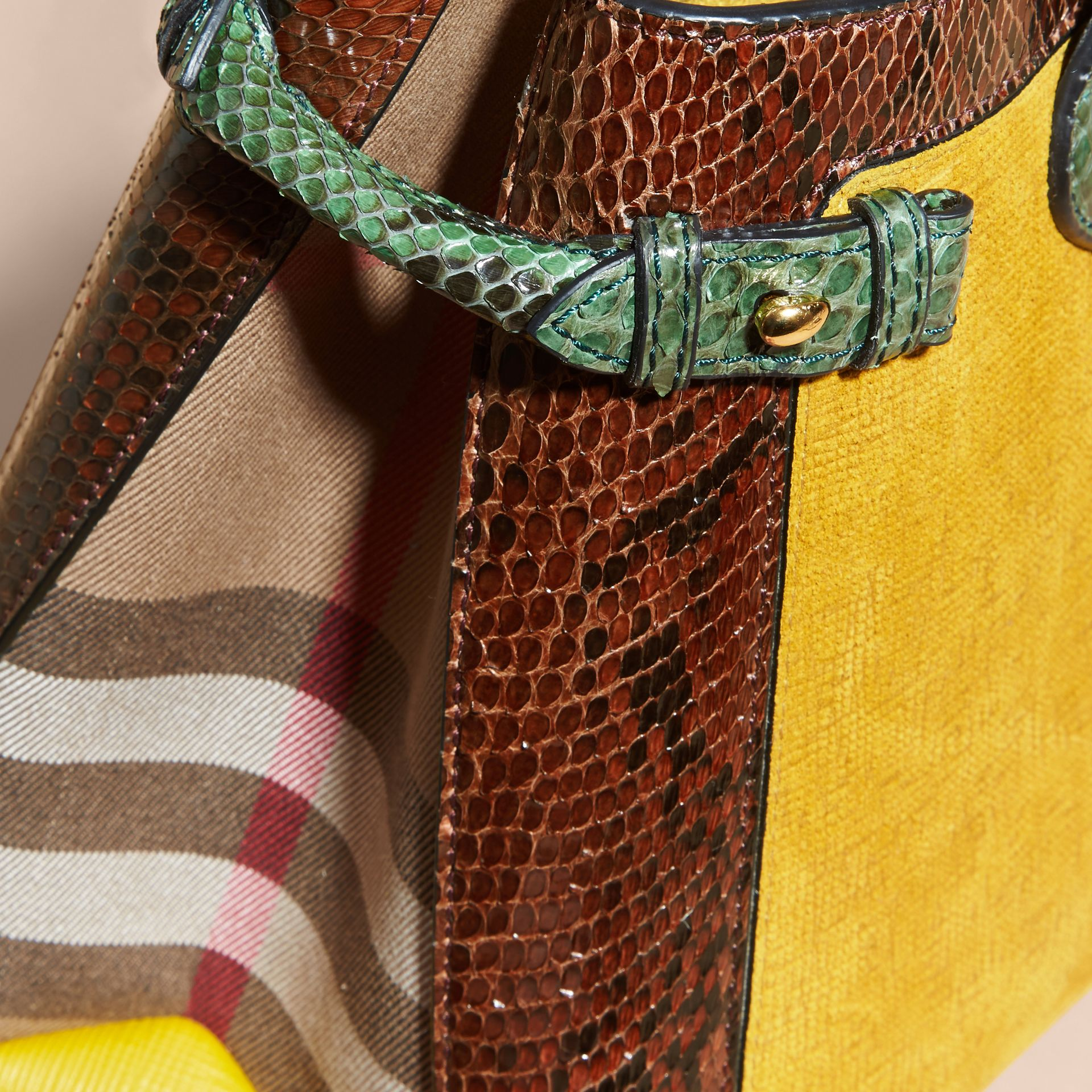 The Medium Banner in Leather, Python and House Check Larch Yellow - gallery image 7