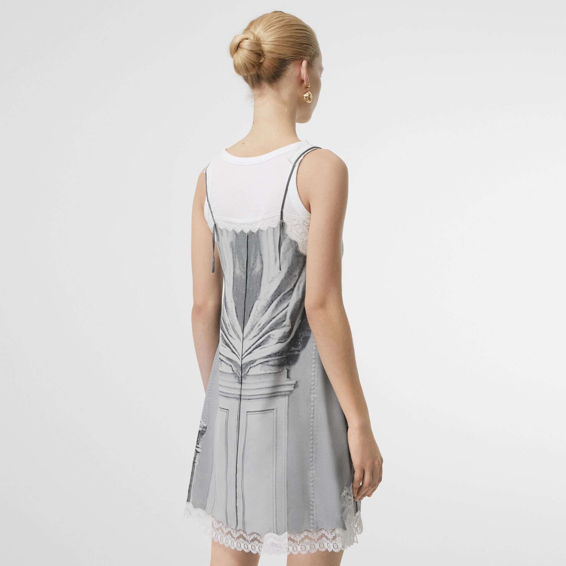 Lace Detail Victorian Portrait Print Silk Slip Dress in Grey - Women | Burberry - gallery image 2