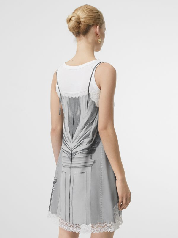 Lace Detail Victorian Portrait Print Silk Slip Dress in Grey - Women | Burberry - cell image 2