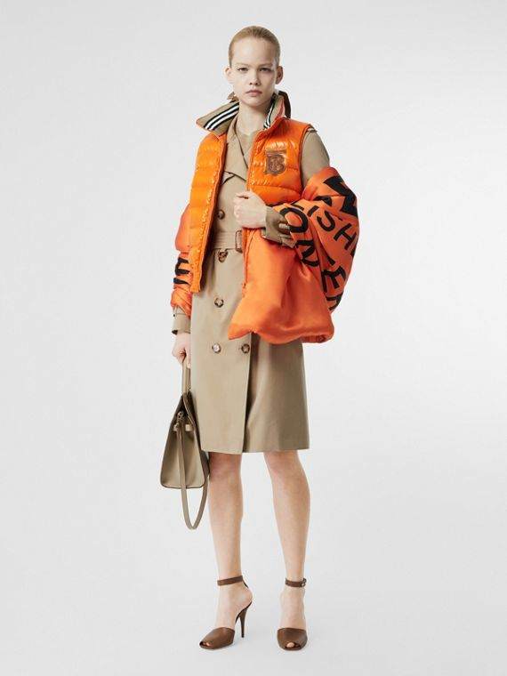 Icon Stripe Detail Down-filled Puffer Gilet in Orange