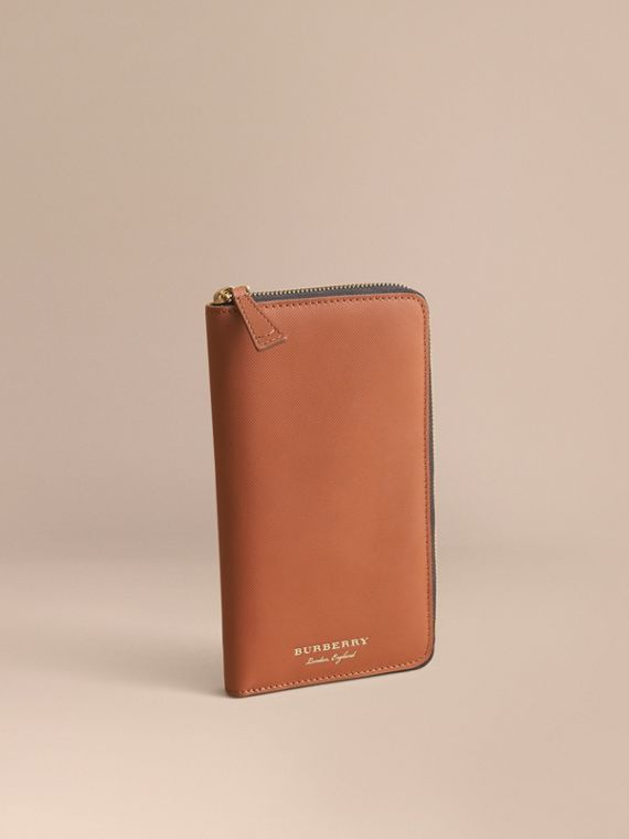 Trench Leather Ziparound Wallet Tan