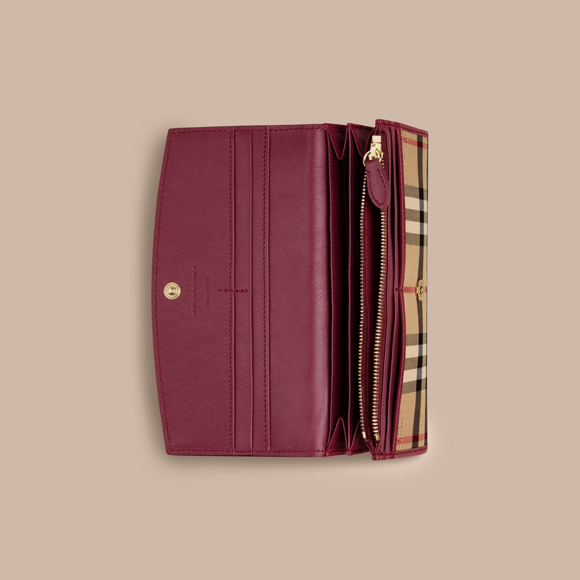 Dark plum Horseferry Check and Leather Continental Wallet Dark Plum - gallery image 4