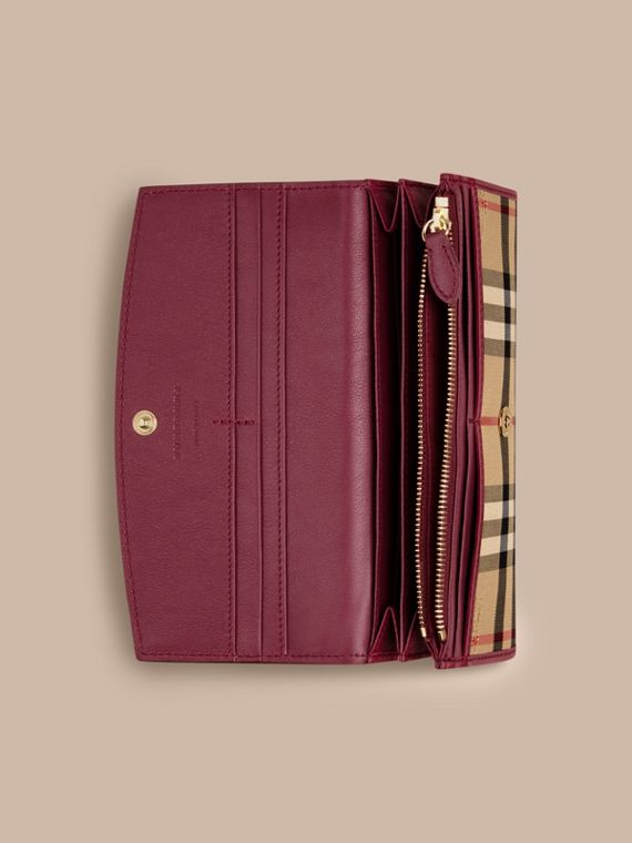 Dark plum Horseferry Check and Leather Continental Wallet Dark Plum - cell image 3