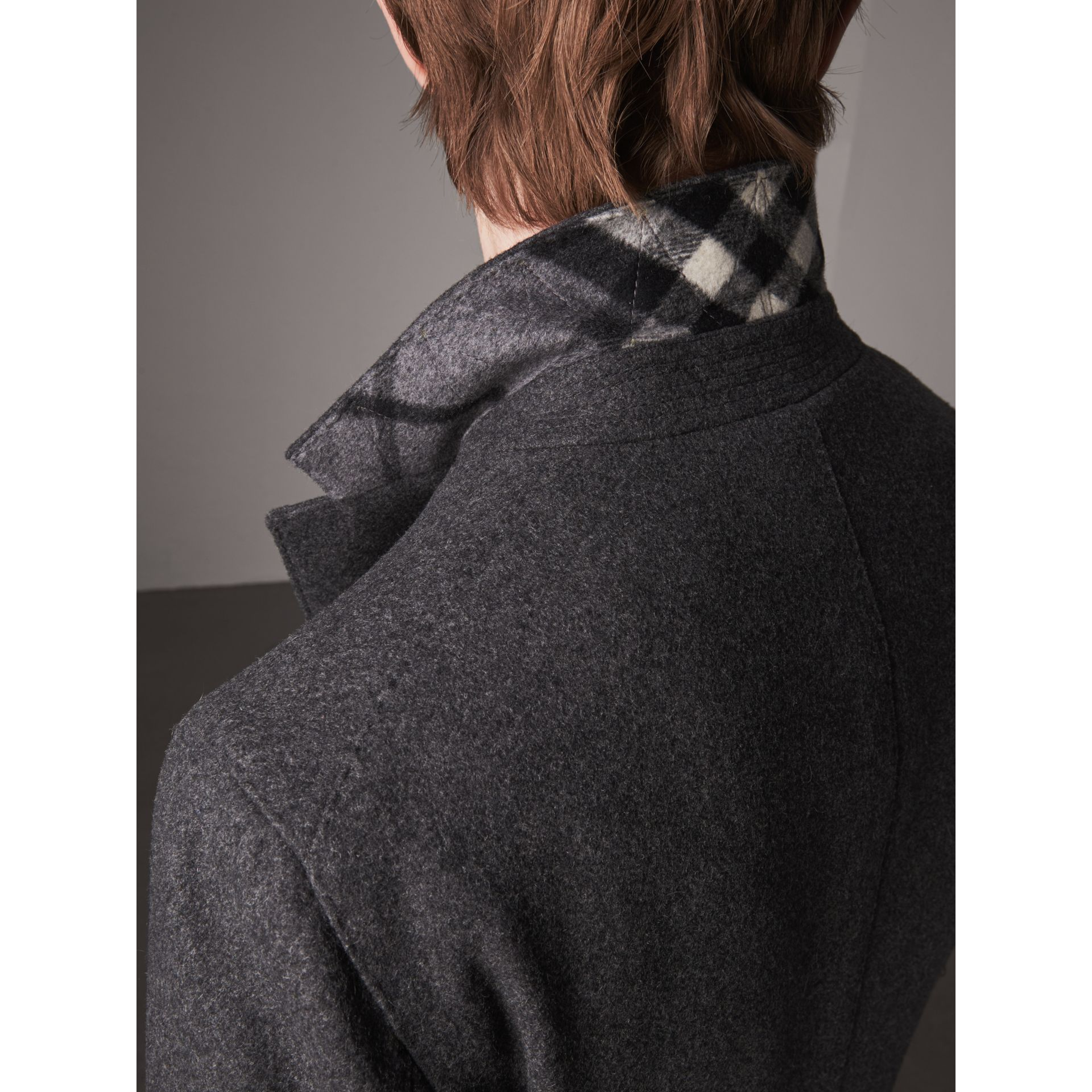 Melange Wool Blend Coat in Dark Grey - Men | Burberry - gallery image 4