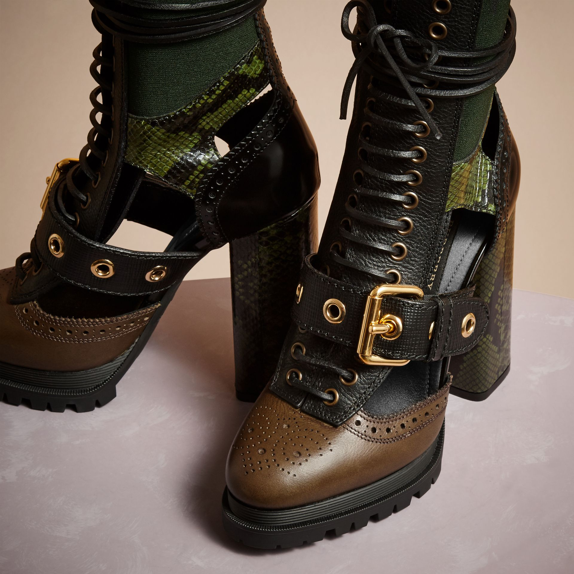 Deep green Leather and Snakeskin Cut-out Platform Boots Deep Green - gallery image 3