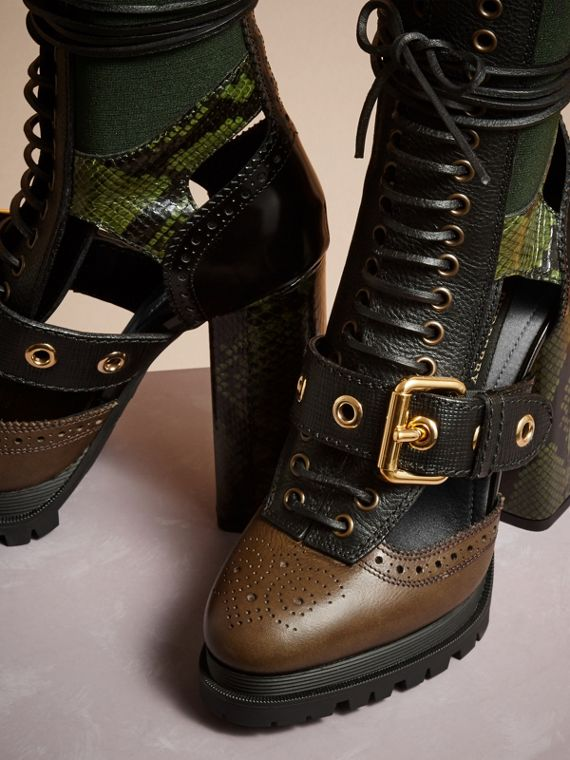 Deep green Leather and Snakeskin Cut-out Platform Boots Deep Green - cell image 2
