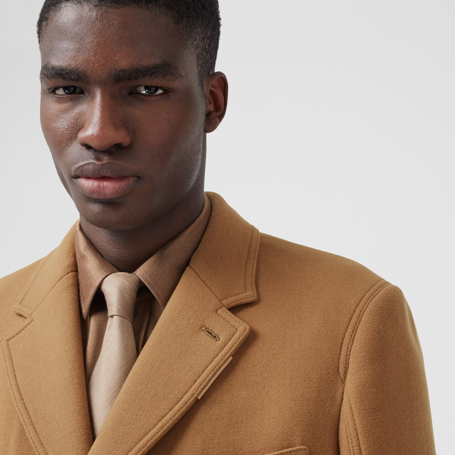 Zip Detail Wool Tailored Coat in Warm Camel - Men | Burberry - gallery image 5