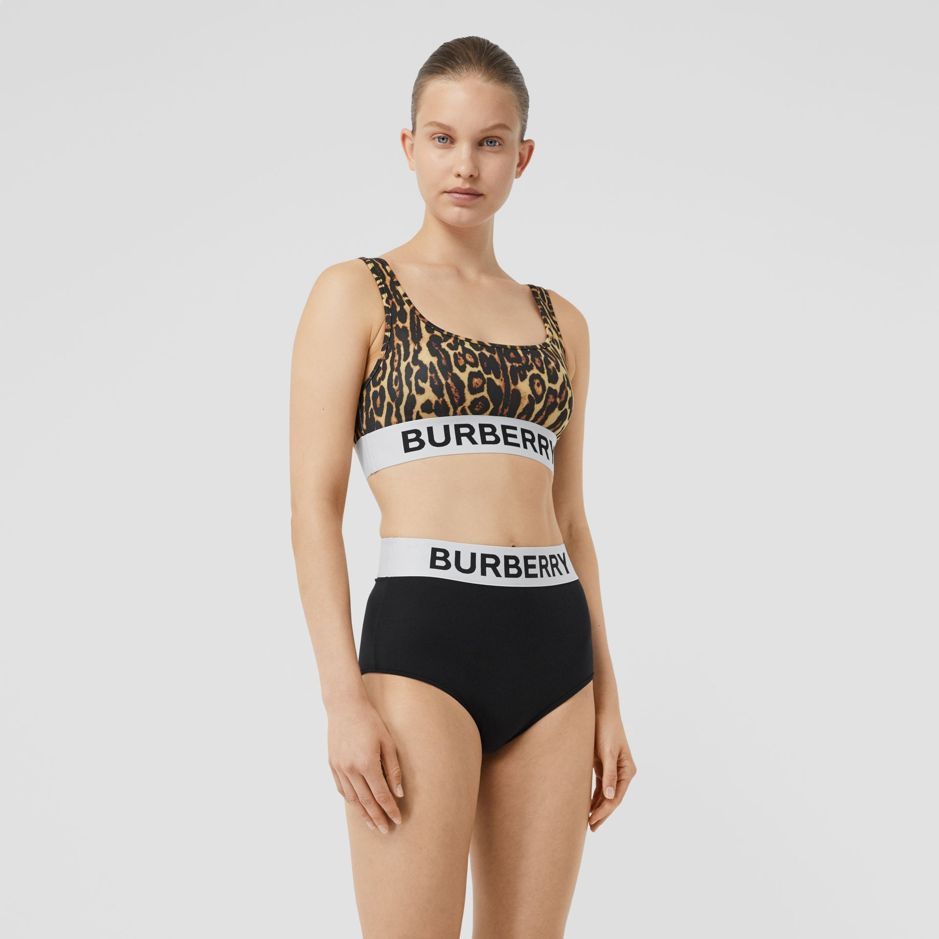Logo and Leopard Print Bikini in Dark Mustard - Women | Burberry - gallery image 0