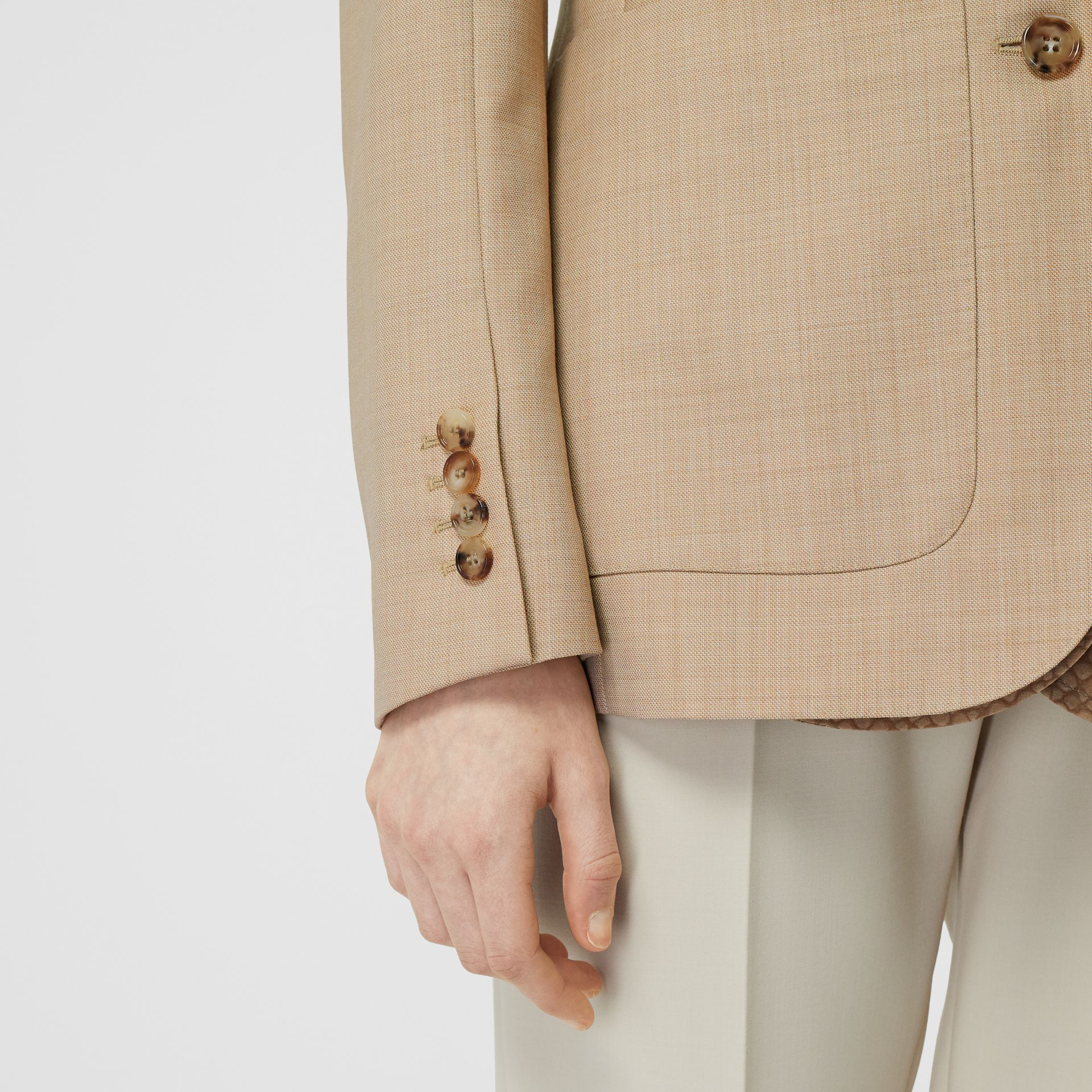 Fish-scale Print Bib Detail Wool Tailored Jacket in Ecru - Women | Burberry - gallery image 3