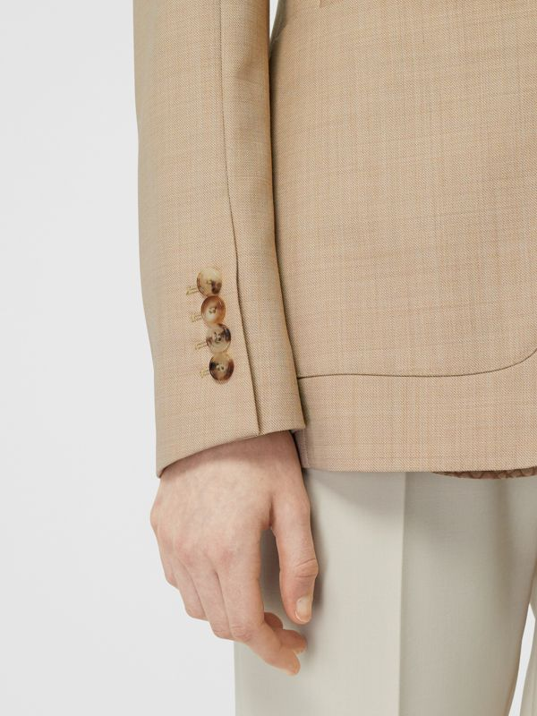 Fish-scale Print Bib Detail Wool Tailored Jacket in Ecru - Women | Burberry - cell image 3