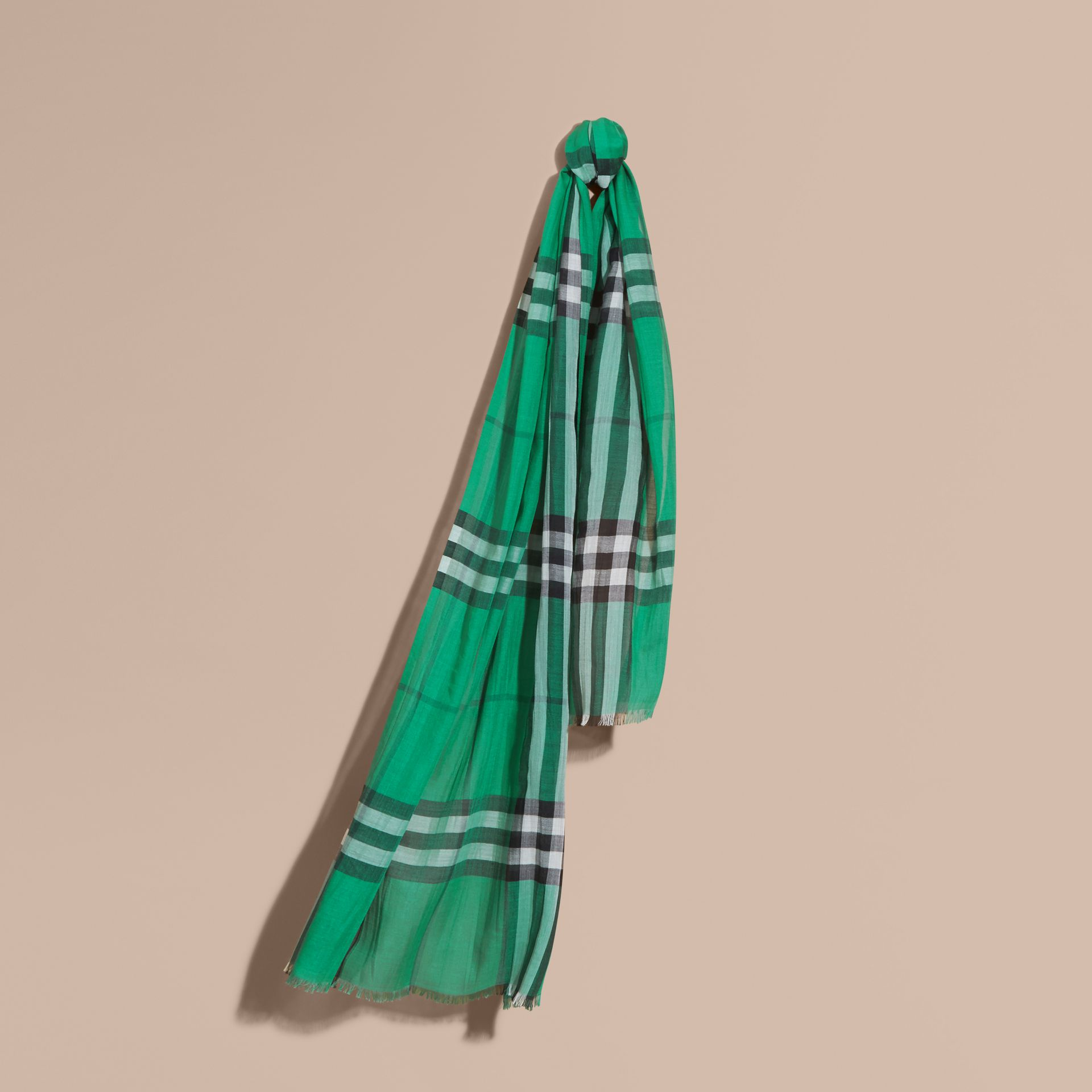 Lightweight Check Wool and Silk Scarf in Emerald - gallery image 1