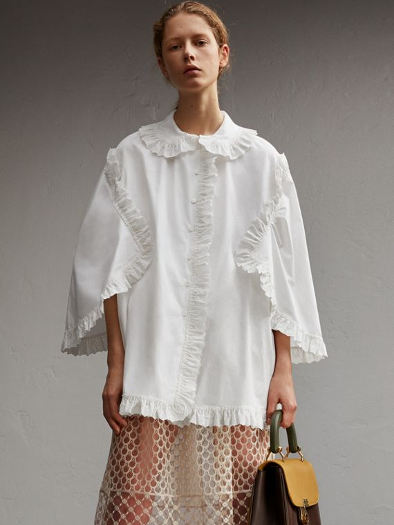 Cotton Poplin Shirt with Broderie Anglaise Ruffles
