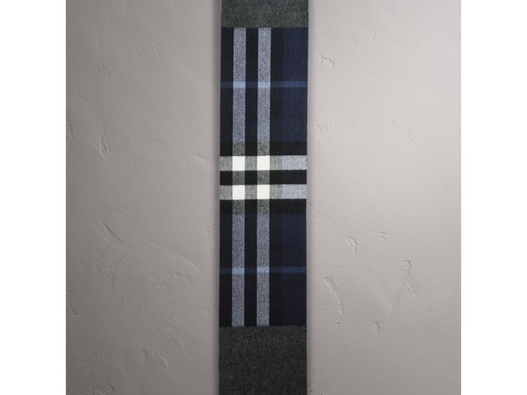 Reversible Check and Melange Cashmere Scarf in Indigo | Burberry - cell image 1