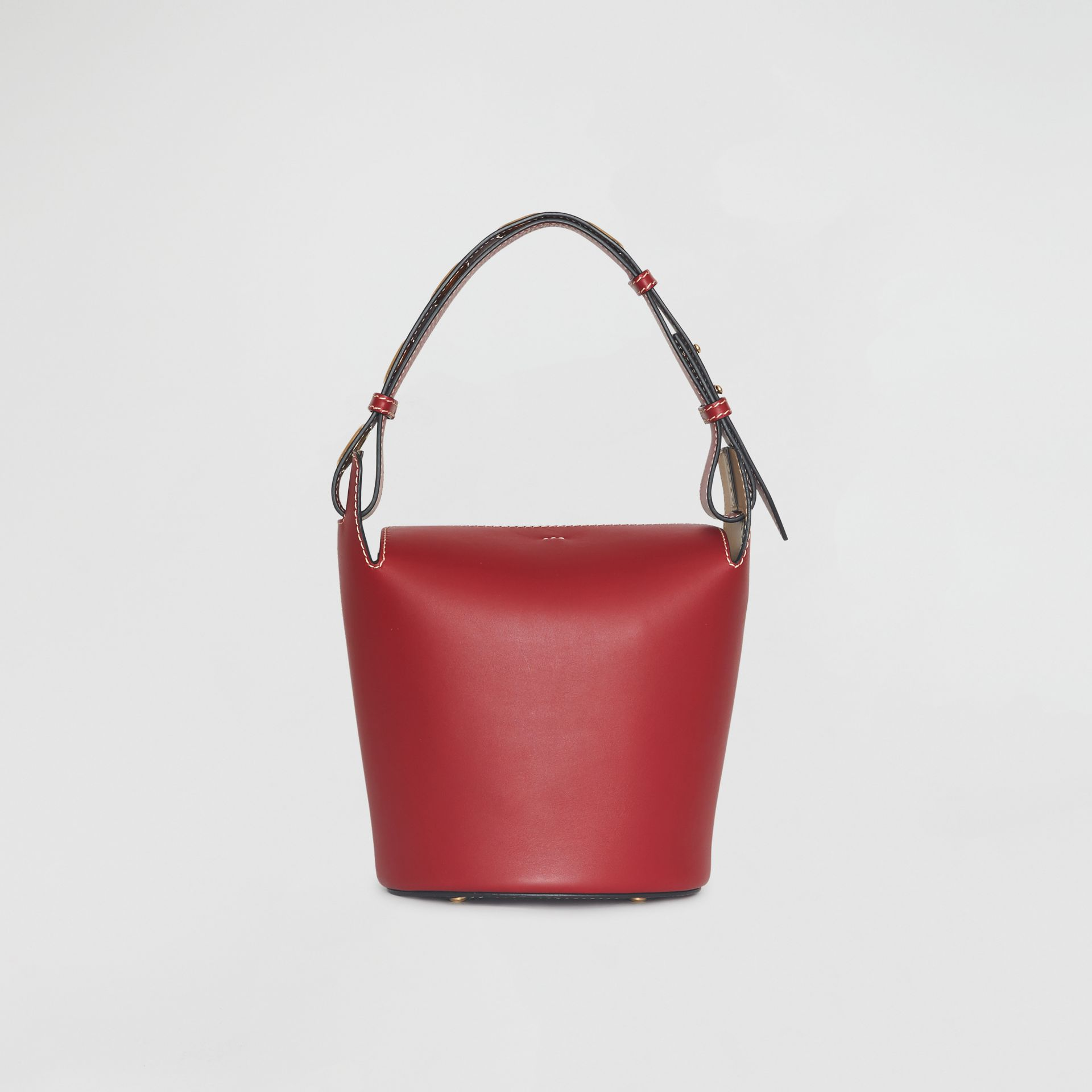 The Small Leather Bucket Bag in Crimson - Women | Burberry Australia - gallery image 7