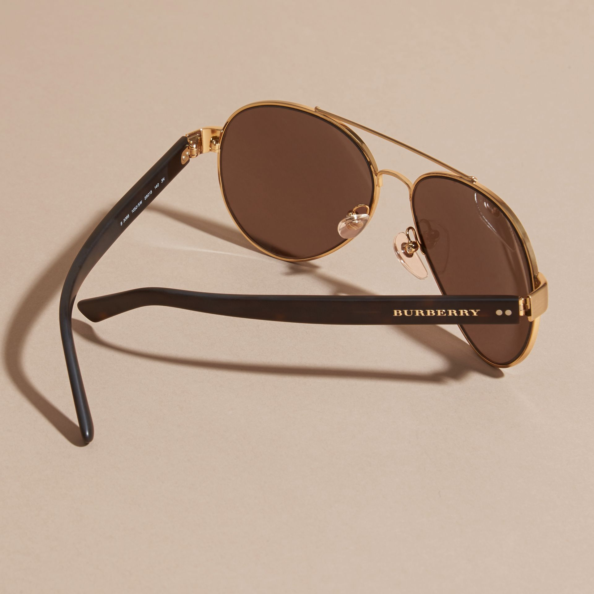 Pilot Sunglasses in Gold - Men | Burberry - gallery image 4