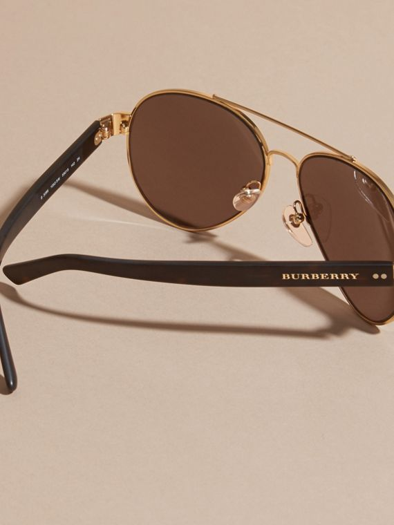 Pilot Sunglasses in Gold - Men | Burberry - cell image 3