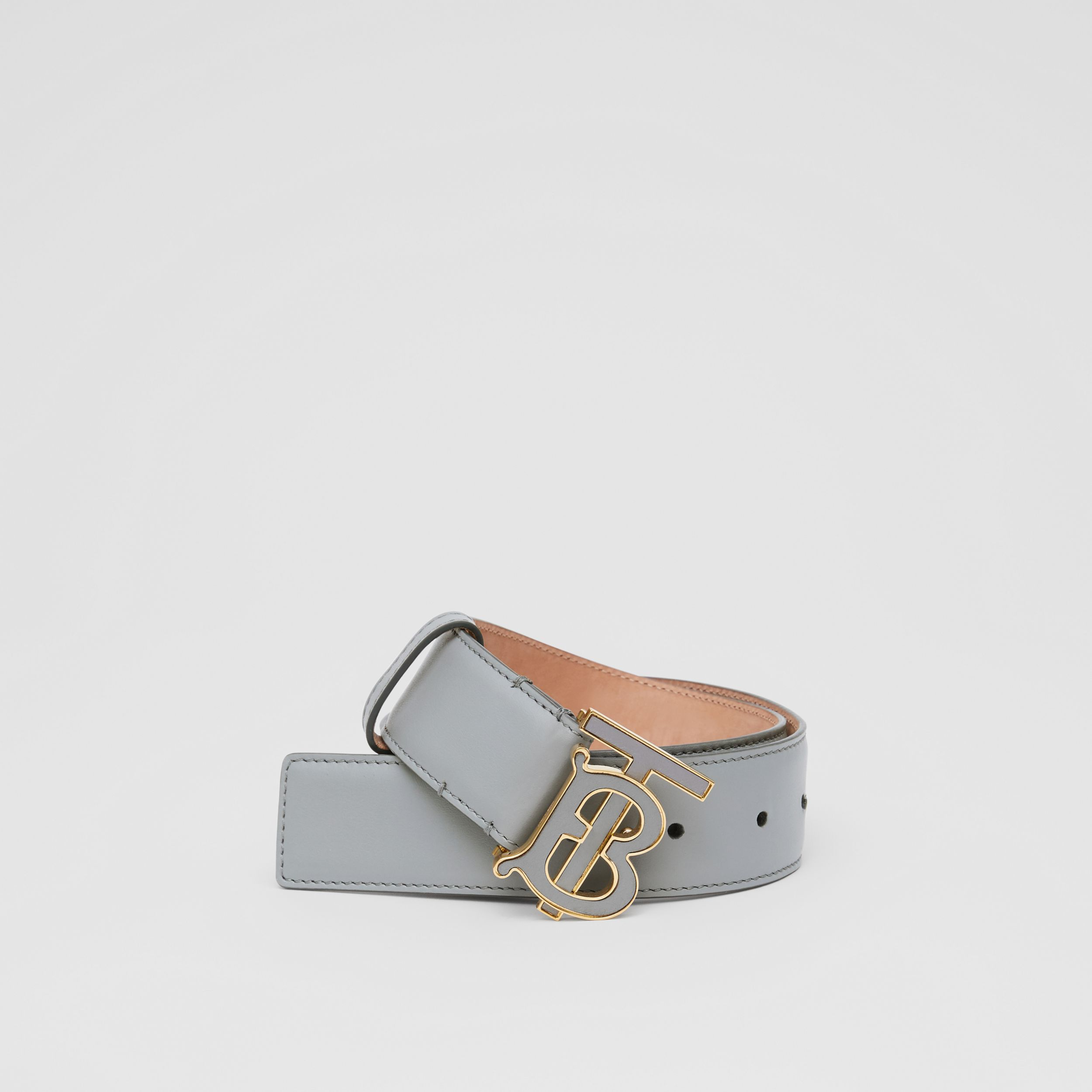 Monogram Motif Leather Belt in Cloud Grey | Burberry - 1