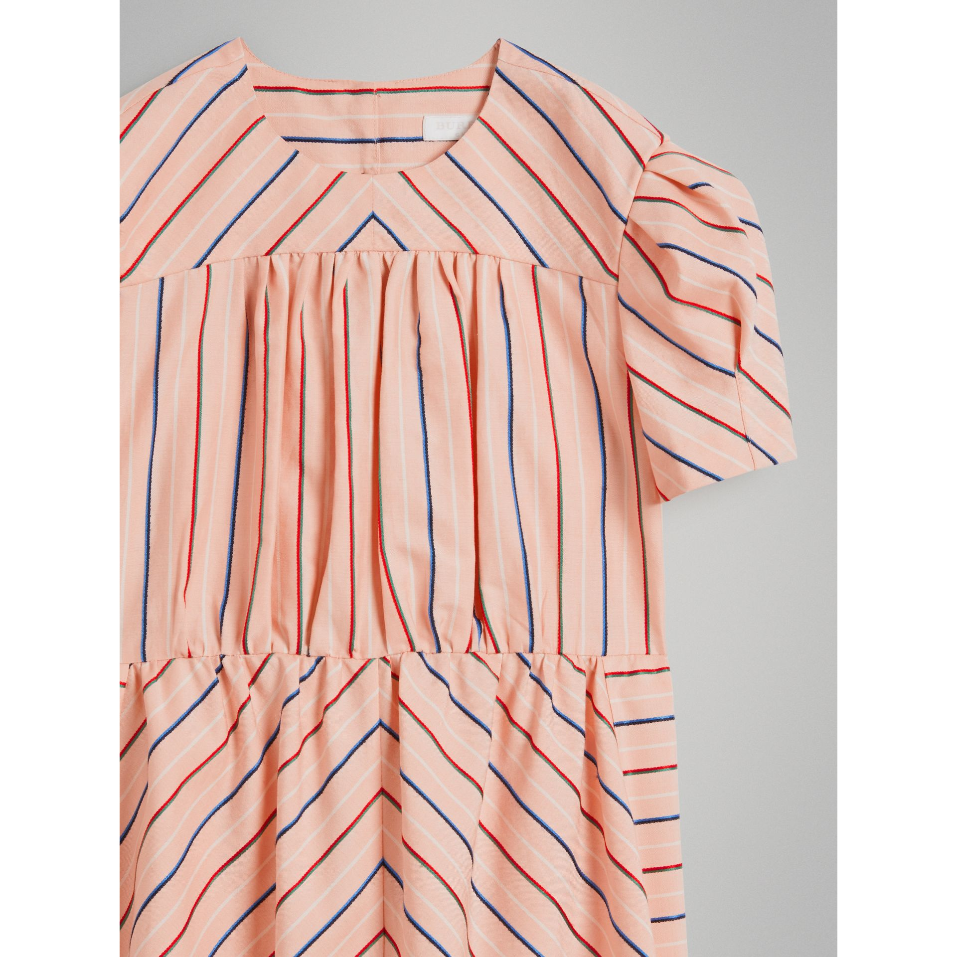 Striped Cotton Silk Panelled Dress in Pale Pink - Girl | Burberry - gallery image 4