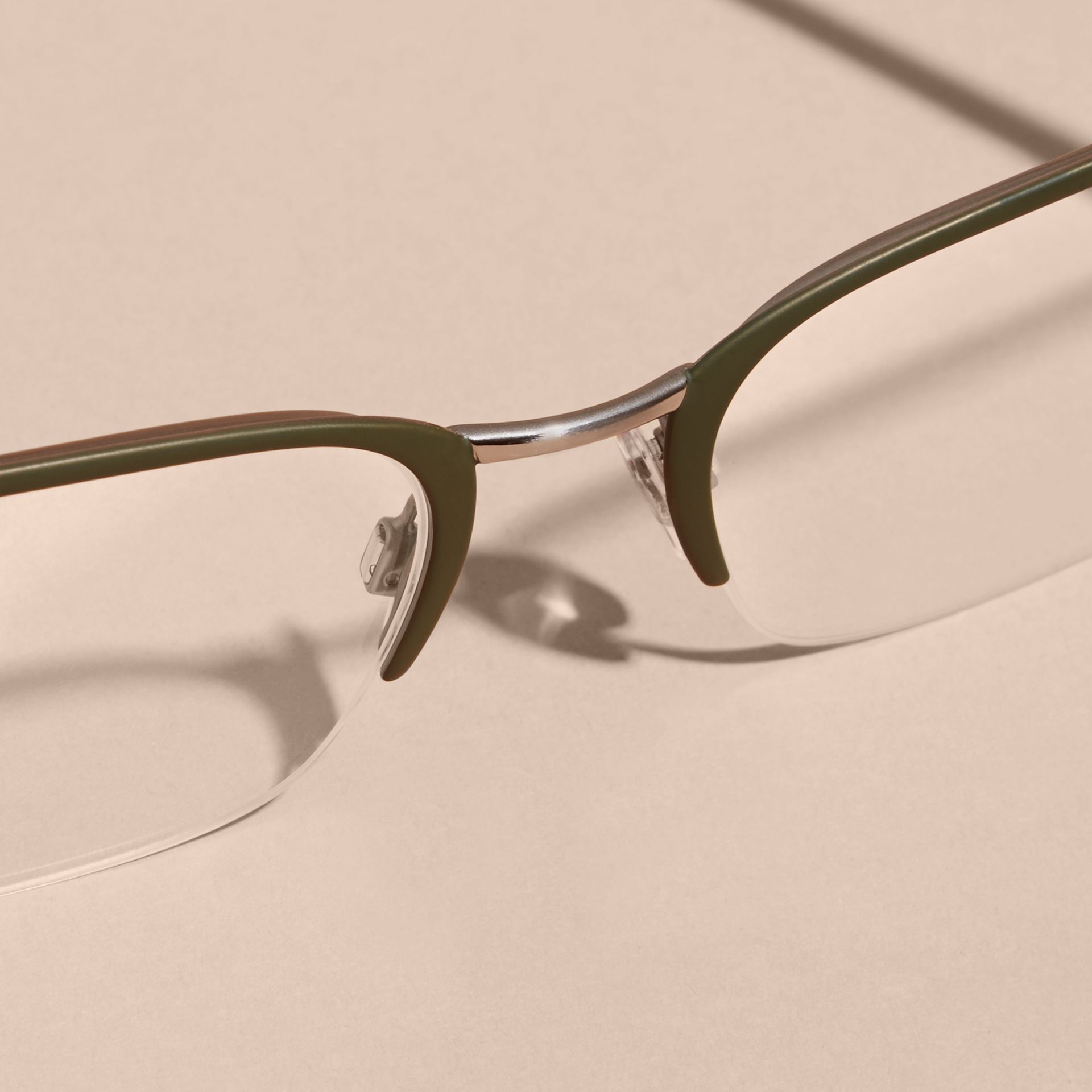 Half-rimmed Rectangular Optical Frames Olive - gallery image 5