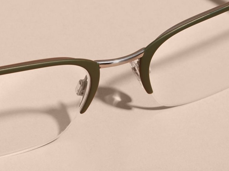 Half-rimmed Rectangular Optical Frames Olive - cell image 4