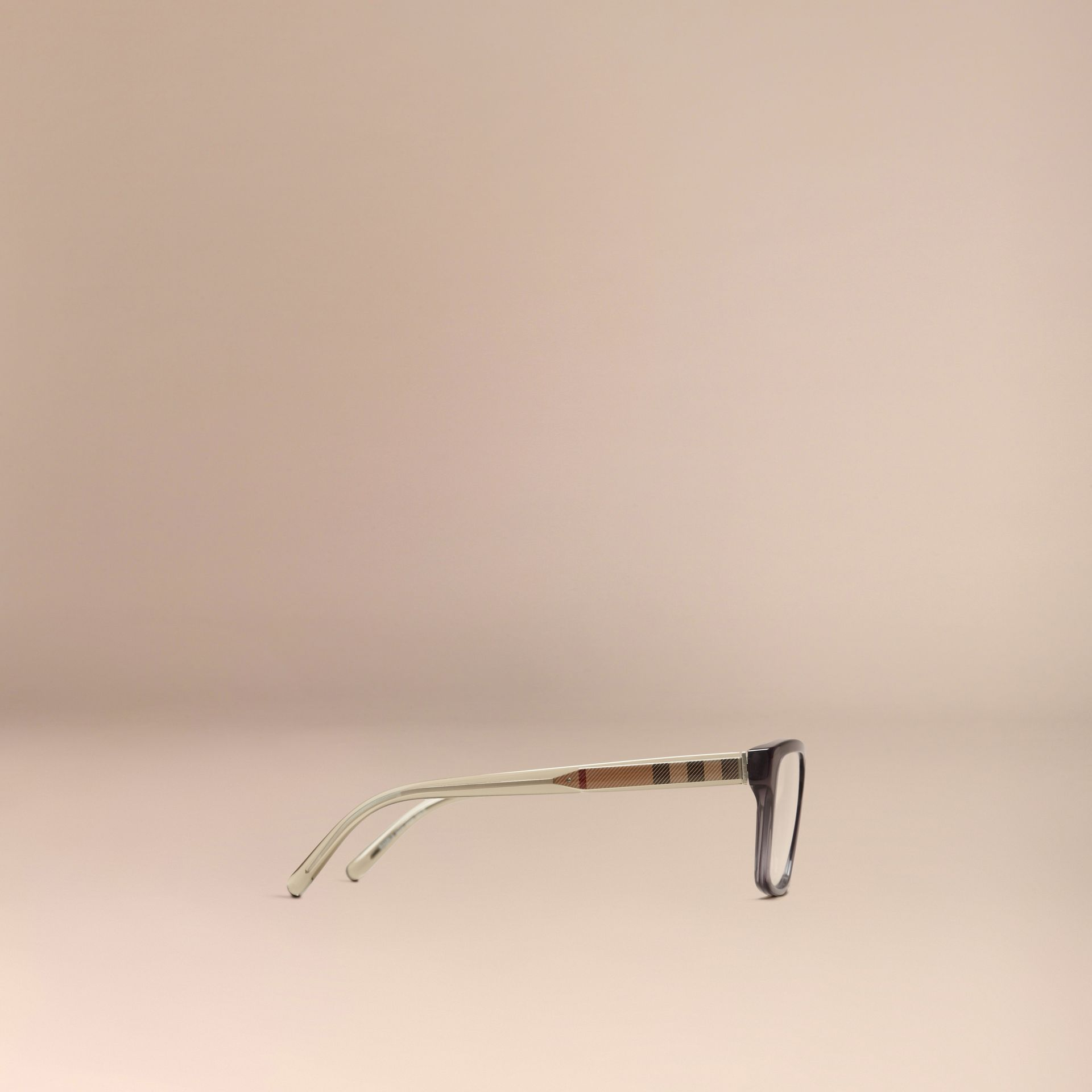 Dark grey Check Detail Rectangular Optical Frames Dark Grey - gallery image 4