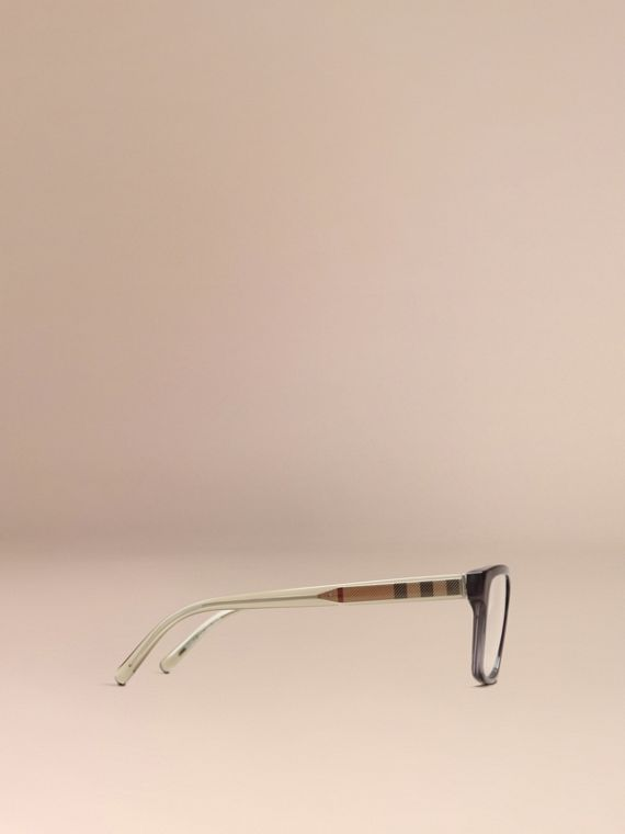 Dark grey Check Detail Rectangular Optical Frames Dark Grey - cell image 3