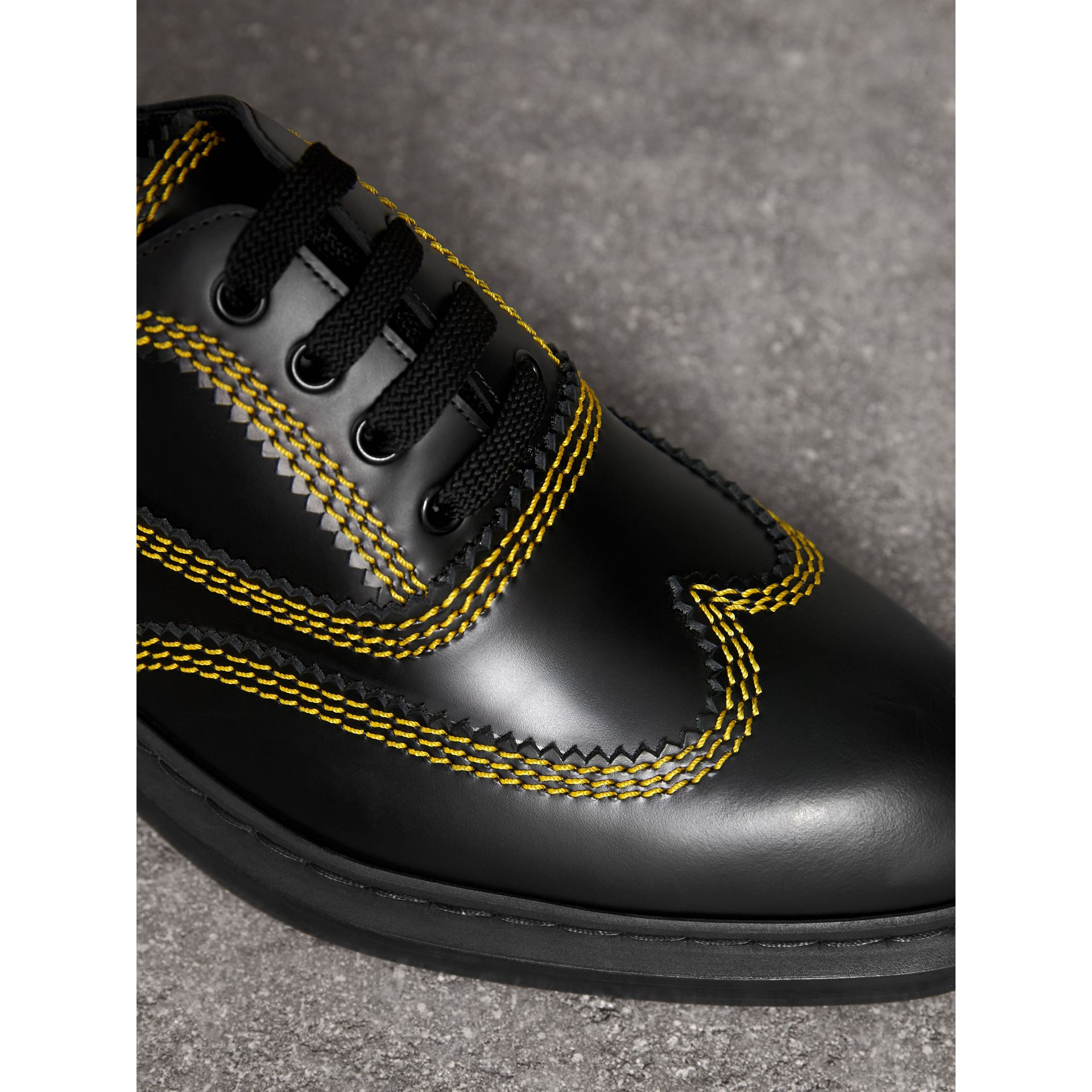 Topstitched Leather Derby Shoes in Black - Men | Burberry Australia - gallery image 1