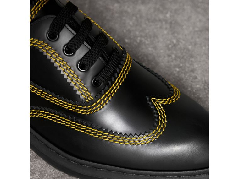 Topstitched Leather Derby Shoes in Black - Men | Burberry Australia - cell image 1