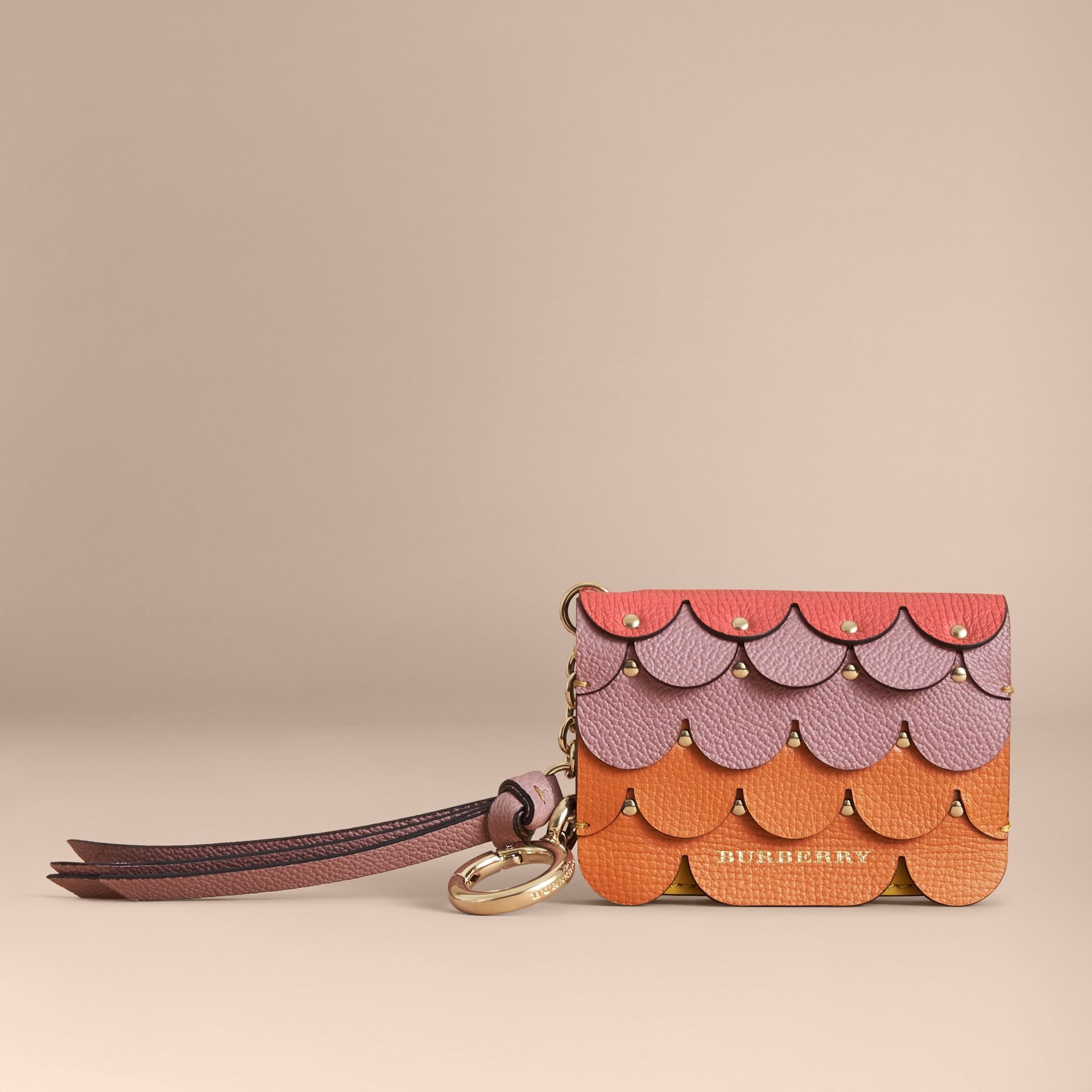 Scalloped Leather Card Case in Bright Straw - Women | Burberry Australia - gallery image 5