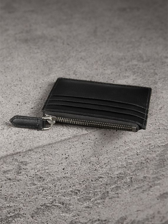 London Leather Zip-top Card Case in Black | Burberry Singapore - cell image 2