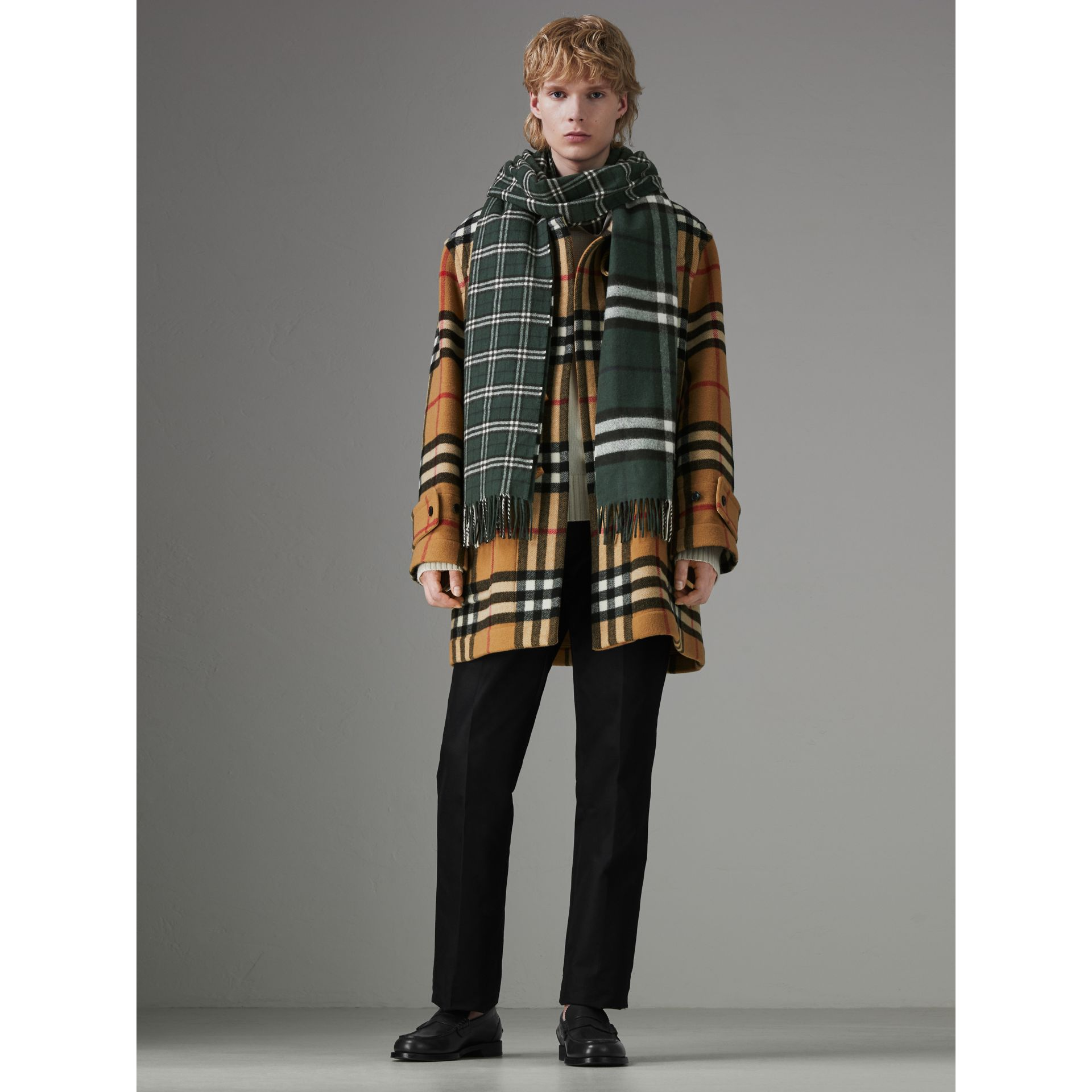 Gosha x Burberry Check Cashmere Double Scarf in Dark Forest Green | Burberry - gallery image 3
