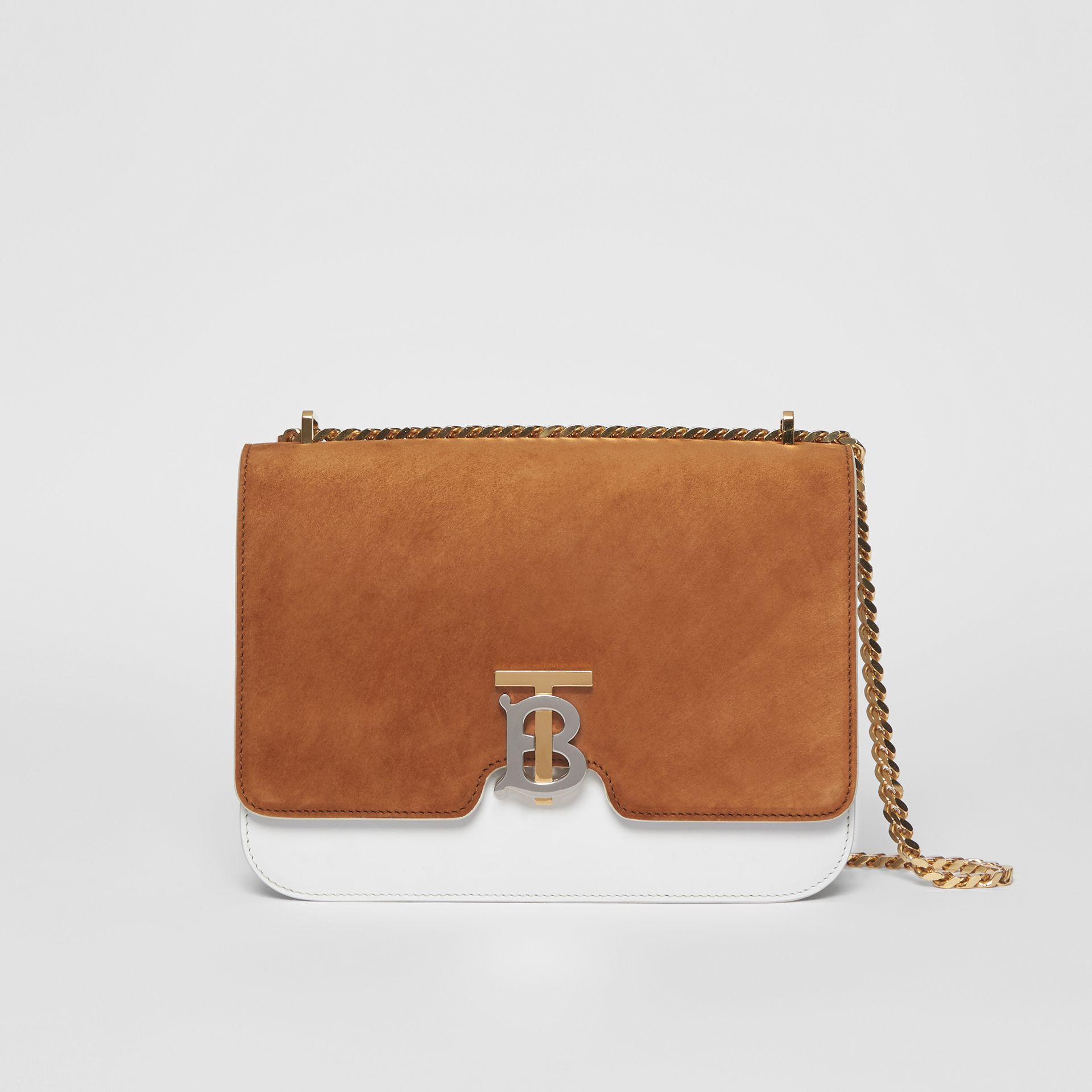 Medium Two-tone Leather and Suede TB Bag in White/brown - Women | Burberry - gallery image 0