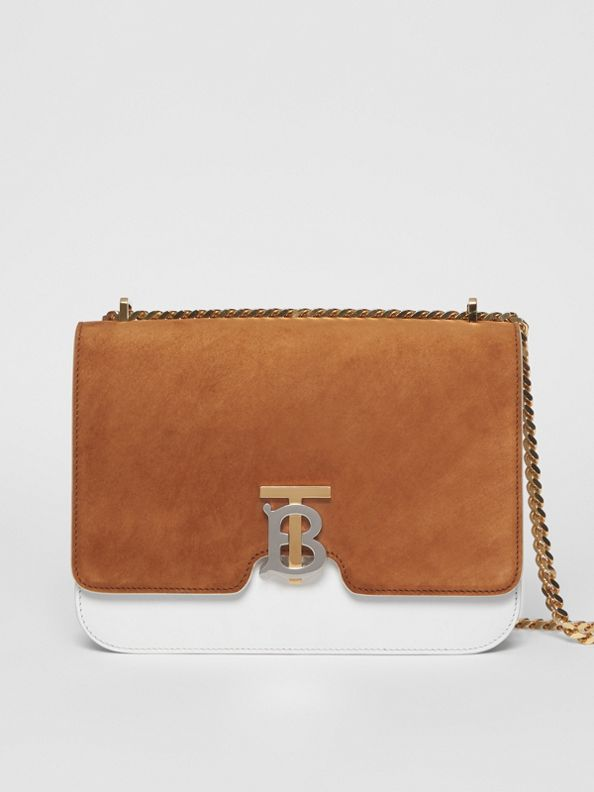Medium Two-tone Leather and Suede TB Bag in White/brown