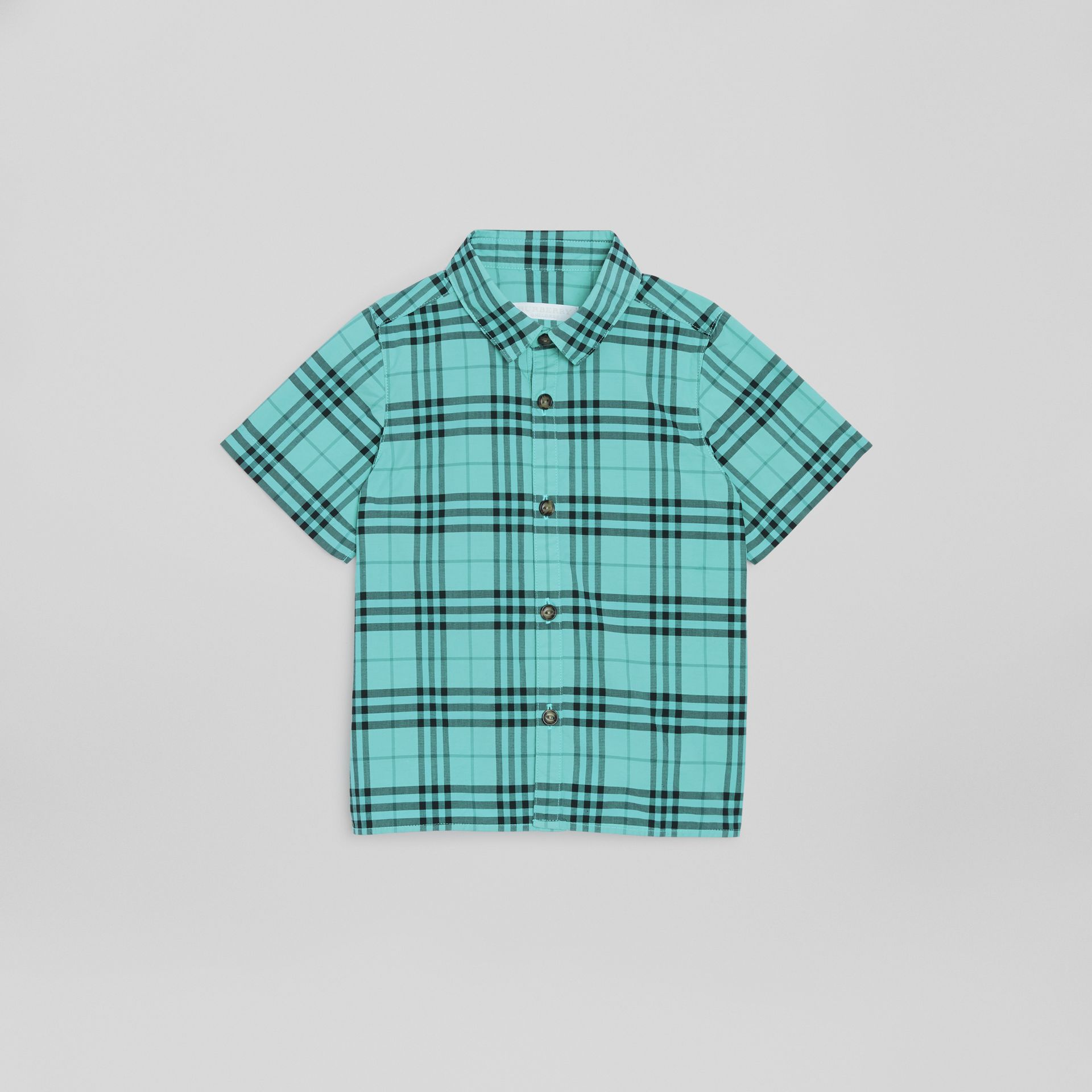 Short-sleeve Check Cotton Shirt in Light Mint | Burberry - gallery image 0