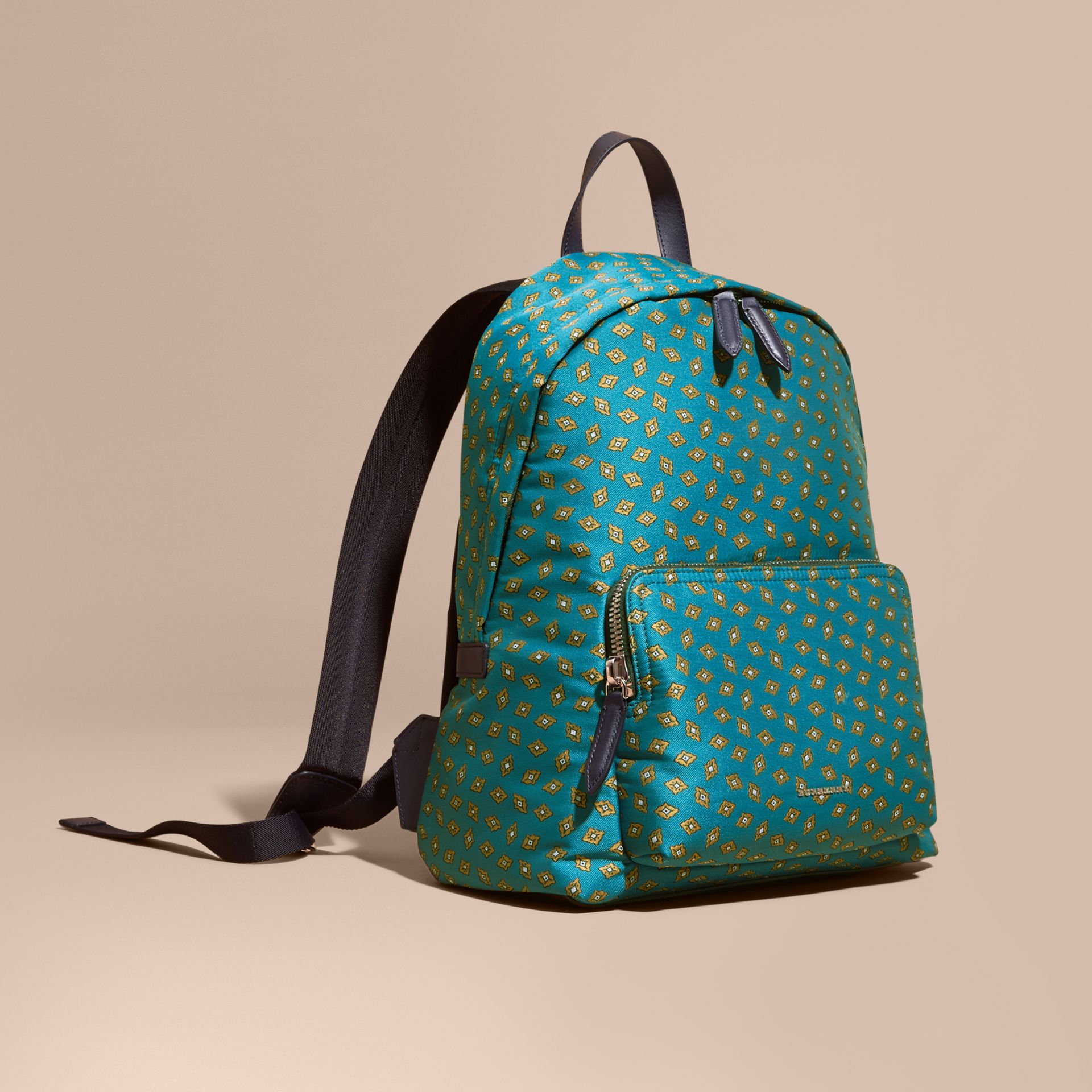 Dark teal Leather Trim Abstract Jacquard Backpack Dark Teal - gallery image 1