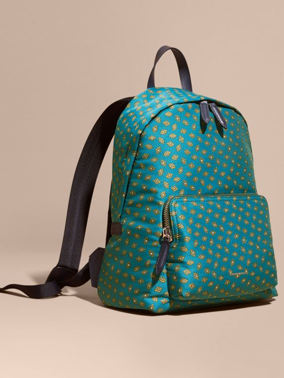Leather Trim Abstract Jacquard Backpack Dark Teal