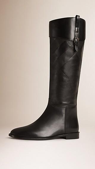 Stivali da equitazione in pelle con motivo check