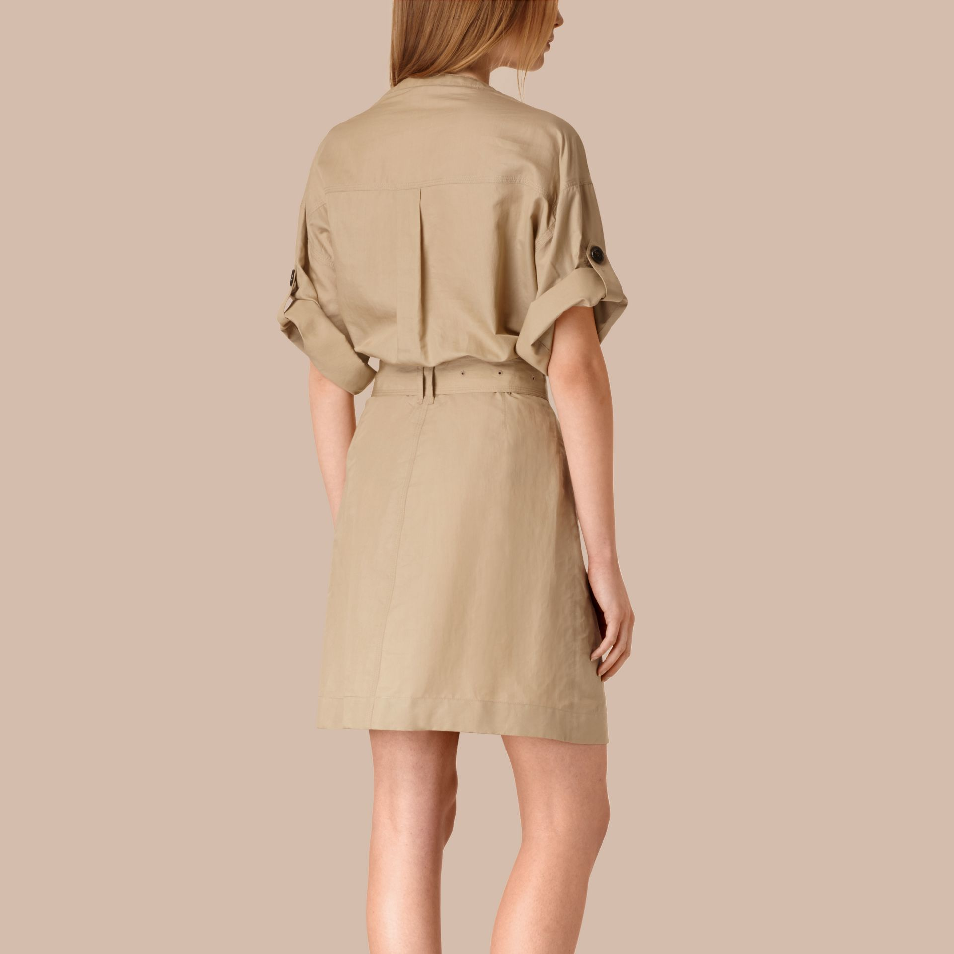 Honey Cotton and Silk Blend Military Dress Honey - gallery image 2