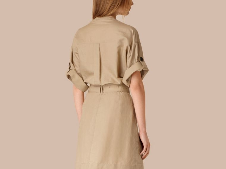 Honey Cotton and Silk Blend Military Dress Honey - cell image 1